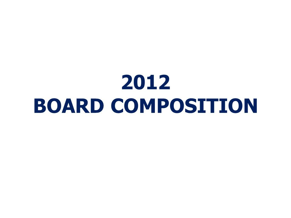 2012 BOARD COMPOSITION