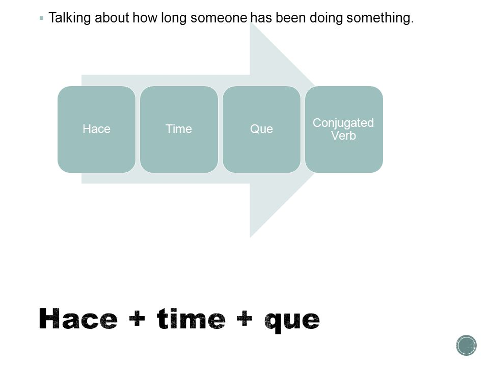  Talking about how long someone has been doing something. HaceTimeQue Conjugated Verb