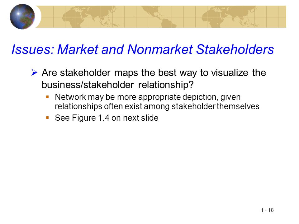 1 - 18 Issues: Market and Nonmarket Stakeholders  Are stakeholder maps the best way to visualize the business/stakeholder relationship?  Network may