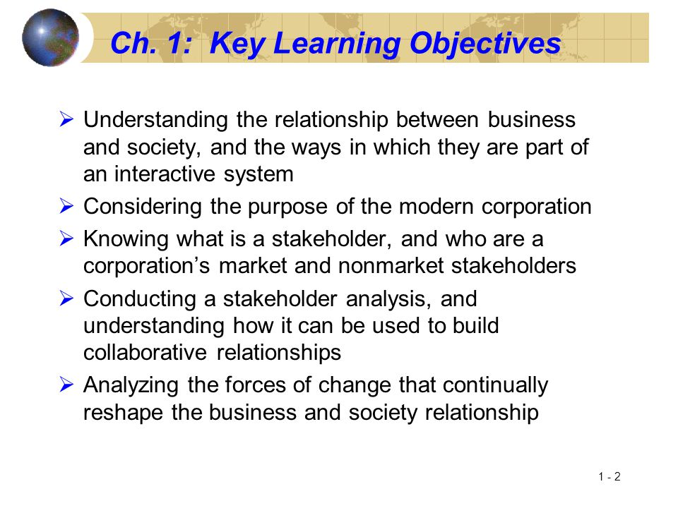 Ch. 1: Key Learning Objectives  Understanding the relationship between business and society, and the ways in which they are part of an interactive sy
