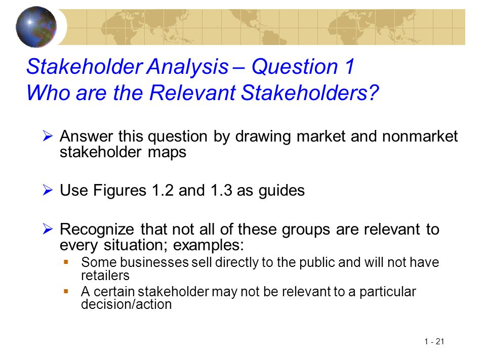 1 - 21 Stakeholder Analysis – Question 1 Who are the Relevant Stakeholders?  Answer this question by drawing market and nonmarket stakeholder maps 