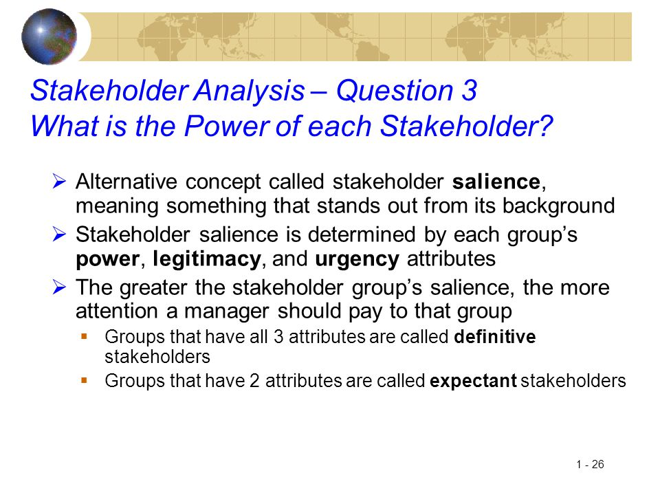 1 - 26 Stakeholder Analysis – Question 3 What is the Power of each Stakeholder?  Alternative concept called stakeholder salience, meaning something t
