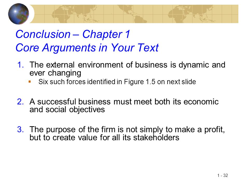 1 - 32 Conclusion – Chapter 1 Core Arguments in Your Text 1.The external environment of business is dynamic and ever changing  Six such forces identi