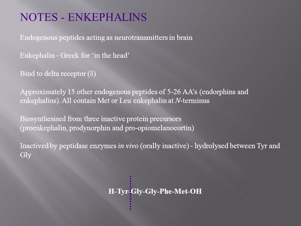 NOTES - ENKEPHALINS Endogenous peptides acting as neurotransmitters in brain Enkephalin - Greek for 'in the head' Bind to delta receptor (  ) Approximately 15 other endogenous peptides of 5-26 AA's (endorphins and enkephalins).