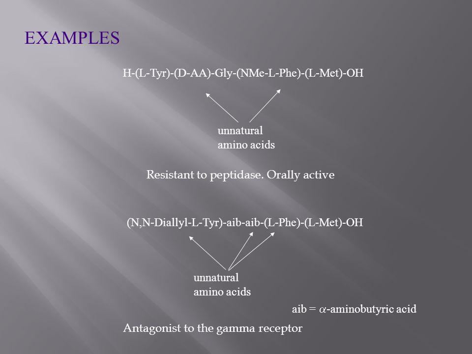 EXAMPLES H-(L-Tyr)-(D-AA)-Gly-(NMe-L-Phe)-(L-Met)-OH unnatural amino acids (N,N-Diallyl-L-Tyr)-aib-aib-(L-Phe)-(L-Met)-OH aib =  -aminobutyric acid unnatural amino acids Resistant to peptidase.