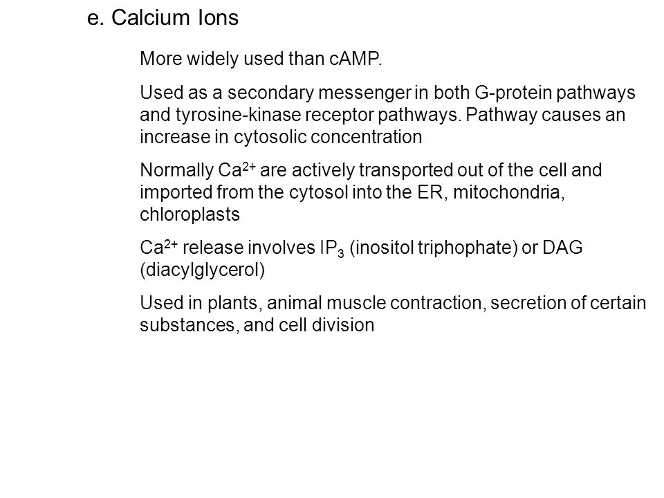 e.Calcium Ions More widely used than cAMP.