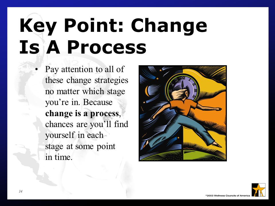 34 Key Point: Change Is A Process Pay attention to all of these change strategies no matter which stage you're in.