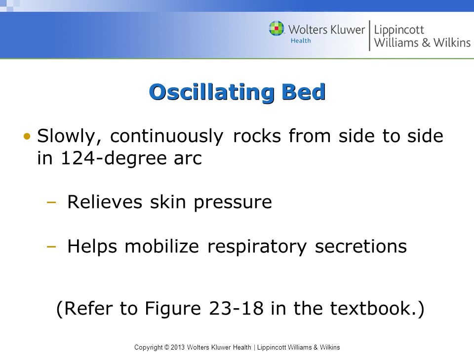 Copyright © 2013 Wolters Kluwer Health | Lippincott Williams & Wilkins Oscillating Bed Slowly, continuously rocks from side to side in 124-degree arc