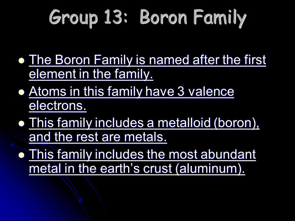Group 13: Boron Family The Boron Family is named after the first element in the family. The Boron Family is named after the first element in the famil