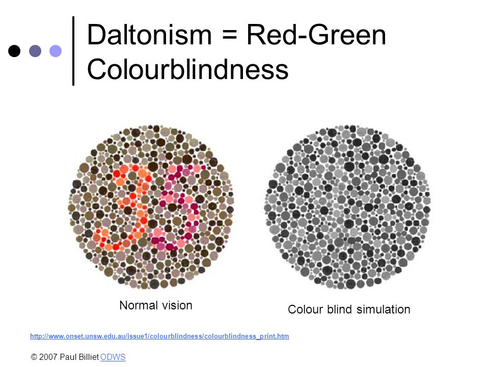 Daltonism = Red-Green Colourblindness Normal vision Colour blind simulation http://www.onset.unsw.edu.au/issue1/colourblindness/colourblindness_print.htm © 2007 Paul Billiet ODWSODWS