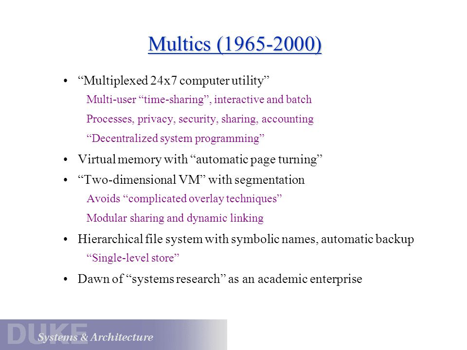 Multics Concepts Segments as granularity of sharing Protection rings and the segment protection level Segments have symbolic names in a hierarchical name space Segments are made known before access from a process.