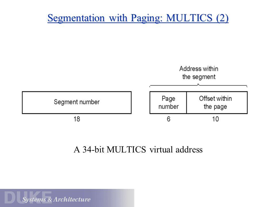 Segmentation with Paging: MULTICS (3) Conversion of a 2-part MULTICS address into a main memory address [Tanenbaum]