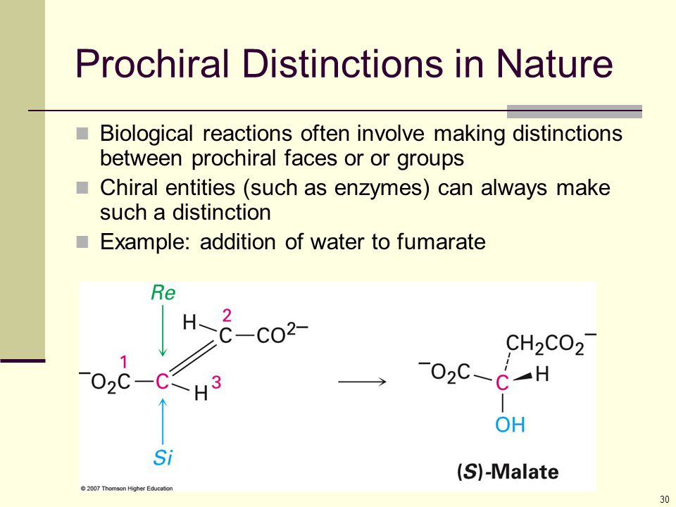 30 Prochiral Distinctions in Nature Biological reactions often involve making distinctions between prochiral faces or or groups Chiral entities (such