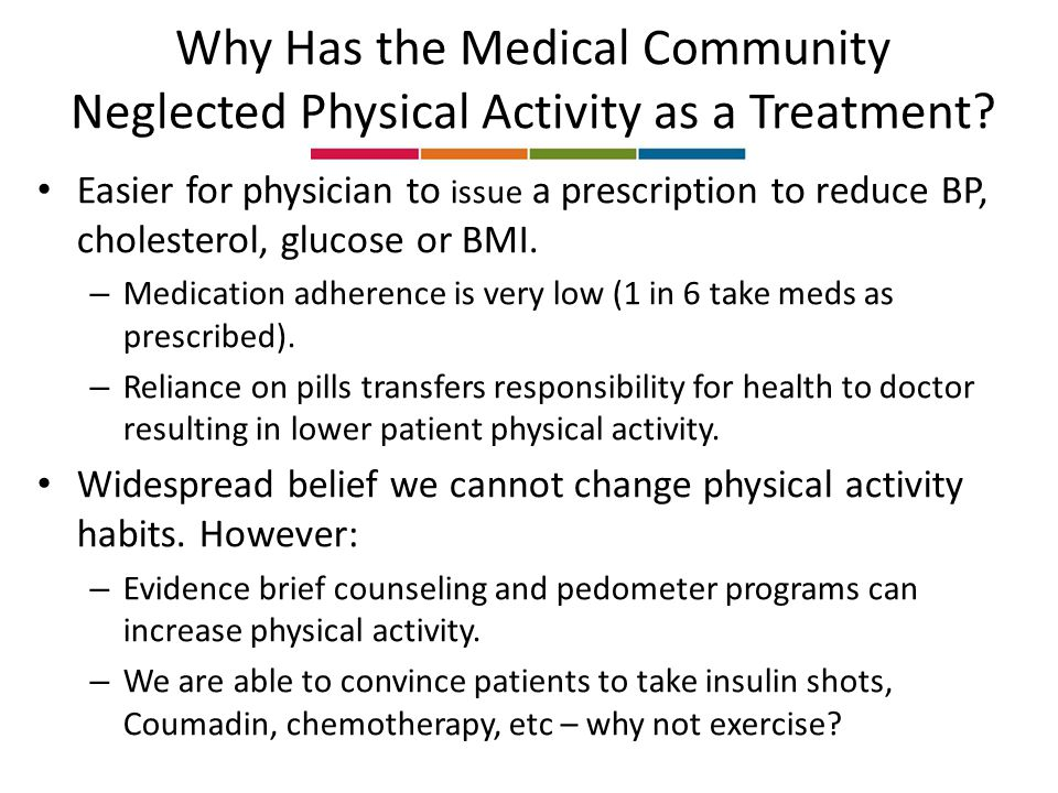 Why Has the Medical Community Neglected Physical Activity as a Treatment.