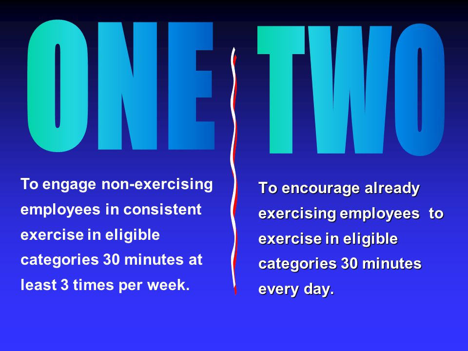 To encourage already exercising employees to exercise in eligible categories 30 minutes every day.