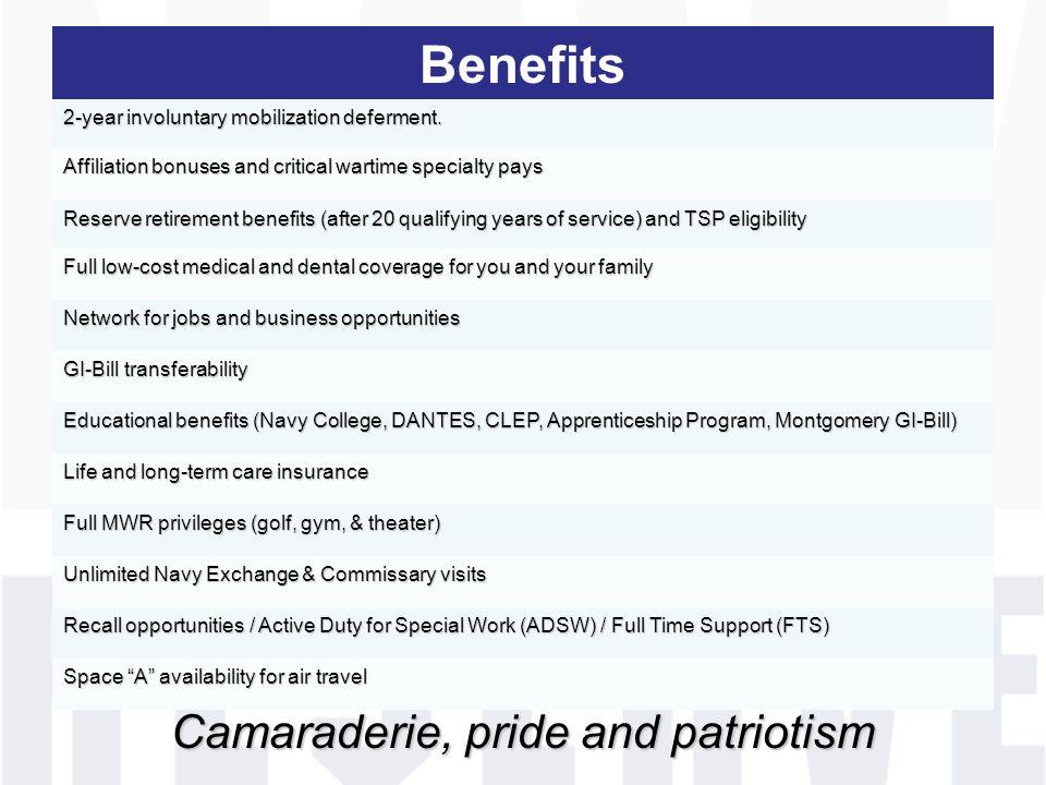 Camaraderie, pride and patriotism Benefits 2-year involuntary mobilization deferment.