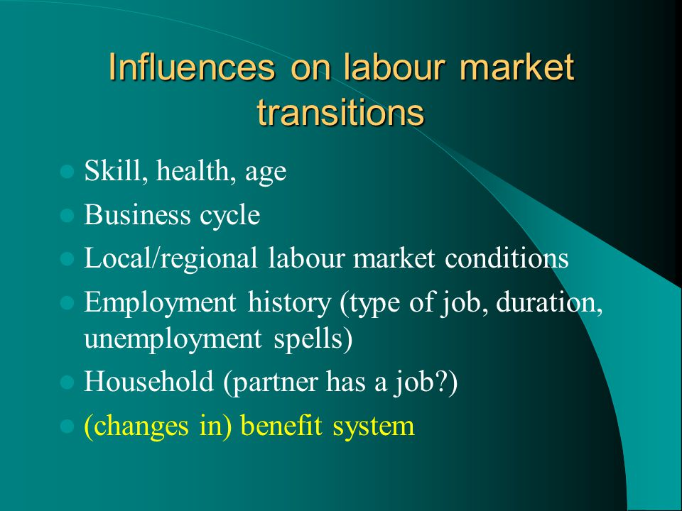 Influences on labour market transitions Skill, health, age Business cycle Local/regional labour market conditions Employment history (type of job, duration, unemployment spells) Household (partner has a job?) (changes in) benefit system