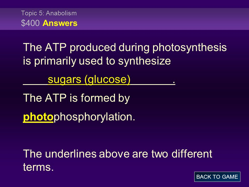 Topic 5: Anabolism $400 Answers The ATP produced during photosynthesis is primarily used to synthesize sugars (glucose). The ATP is formed by photopho