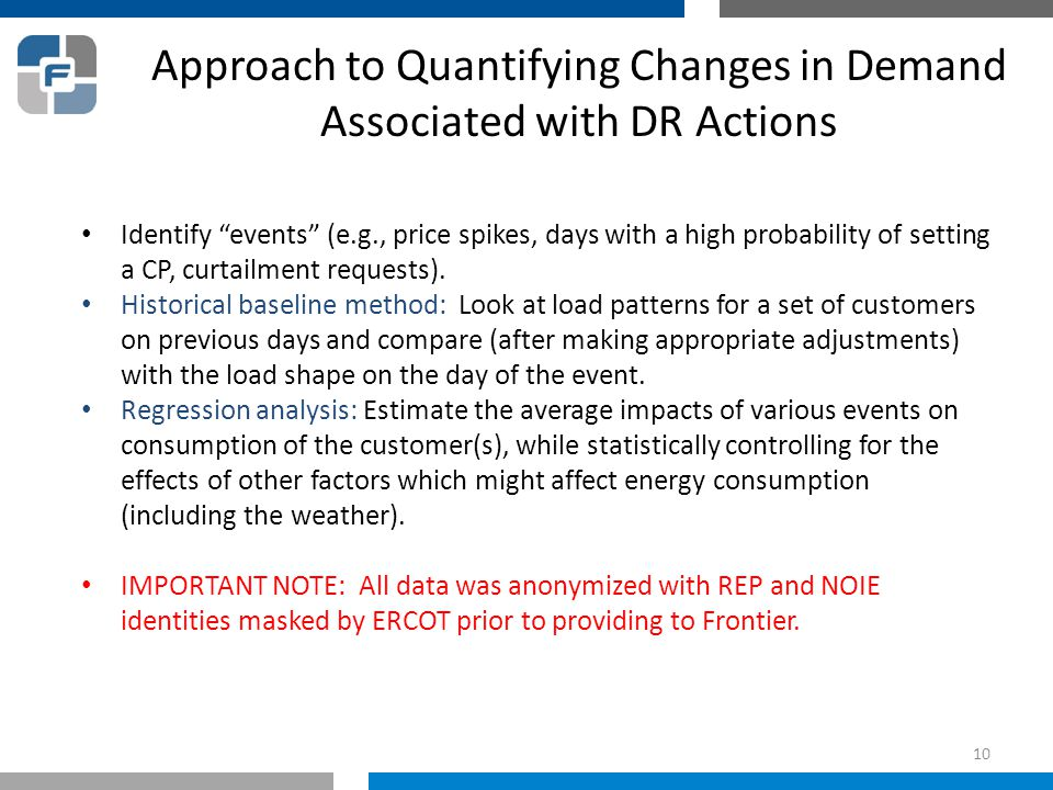 "Approach to Quantifying Changes in Demand Associated with DR Actions Identify ""events"" (e.g., price spikes, days with a high probability of setting a"