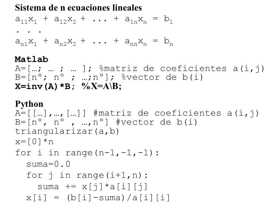 Sistema de n ecuaciones lineales a 11 x 1 + a 12 x 2 +...