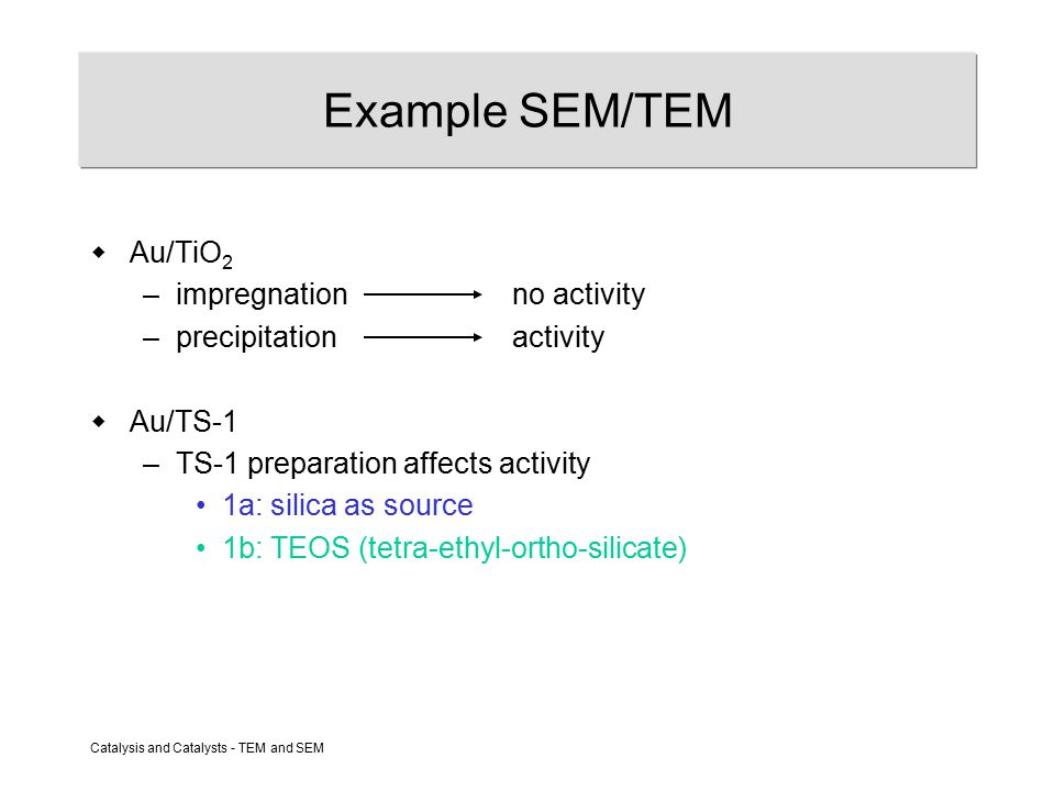 Catalysis and Catalysts - TEM and SEM Example SEM/TEM  Au/TiO 2 –impregnationno activity –precipitationactivity  Au/TS-1 –TS-1 preparation affects activity 1a: silica as source 1b: TEOS (tetra-ethyl-ortho-silicate)