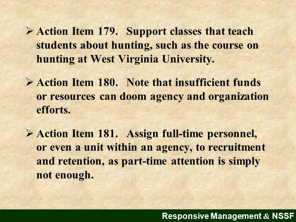 Responsive Management & NSSF  Action Item 179.