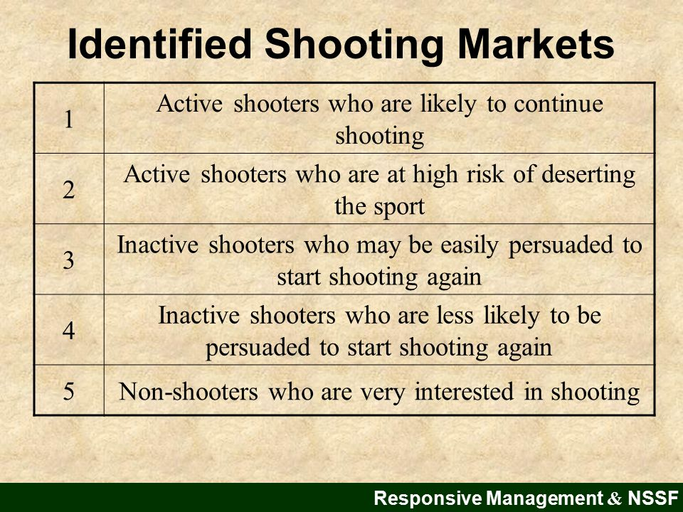 Responsive Management & NSSF 1 Active shooters who are likely to continue shooting 2 Active shooters who are at high risk of deserting the sport 3 Inactive shooters who may be easily persuaded to start shooting again 4 Inactive shooters who are less likely to be persuaded to start shooting again 5Non-shooters who are very interested in shooting Identified Shooting Markets
