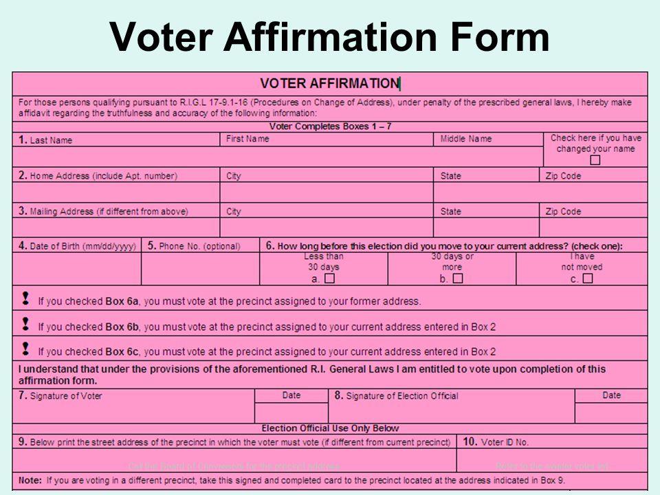 Voter Affirmation Form