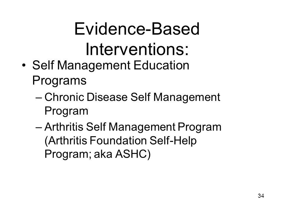34 Evidence-Based Interventions: Self Management Education Programs –Chronic Disease Self Management Program –Arthritis Self Management Program (Arthritis Foundation Self-Help Program; aka ASHC)