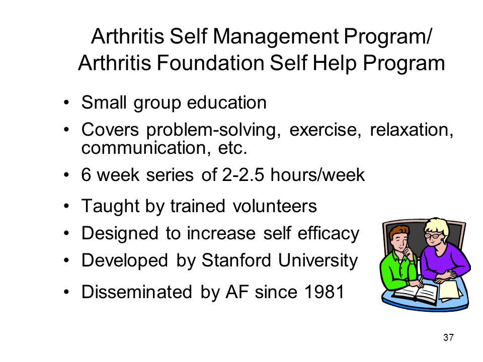 37 Arthritis Self Management Program/ Arthritis Foundation Self Help Program Small group education Covers problem-solving, exercise, relaxation, communication, etc.