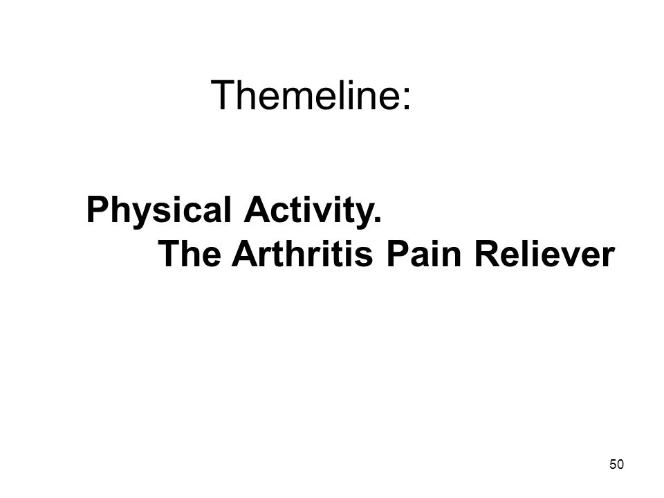 50 Themeline: Physical Activity. The Arthritis Pain Reliever.