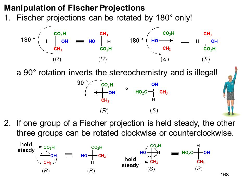 168 2.If one group of a Fischer projection is held steady, the other three groups can be rotated clockwise or counterclockwise. Manipulation of Fische