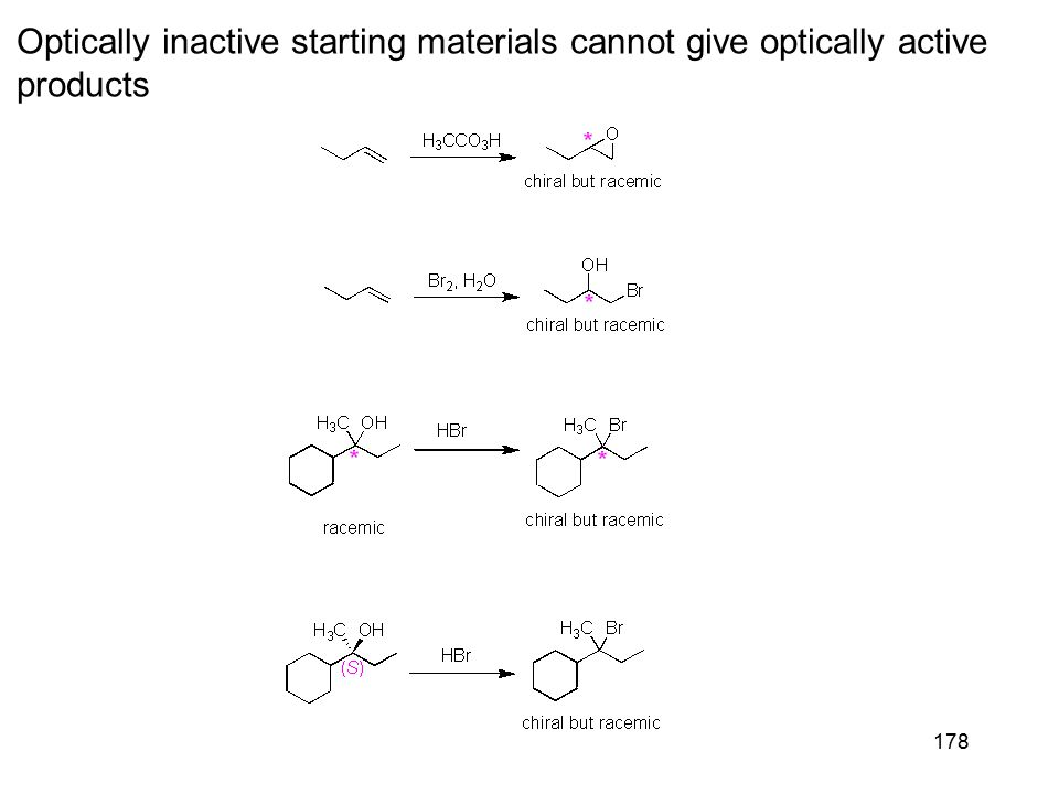 178 Optically inactive starting materials cannot give optically active products