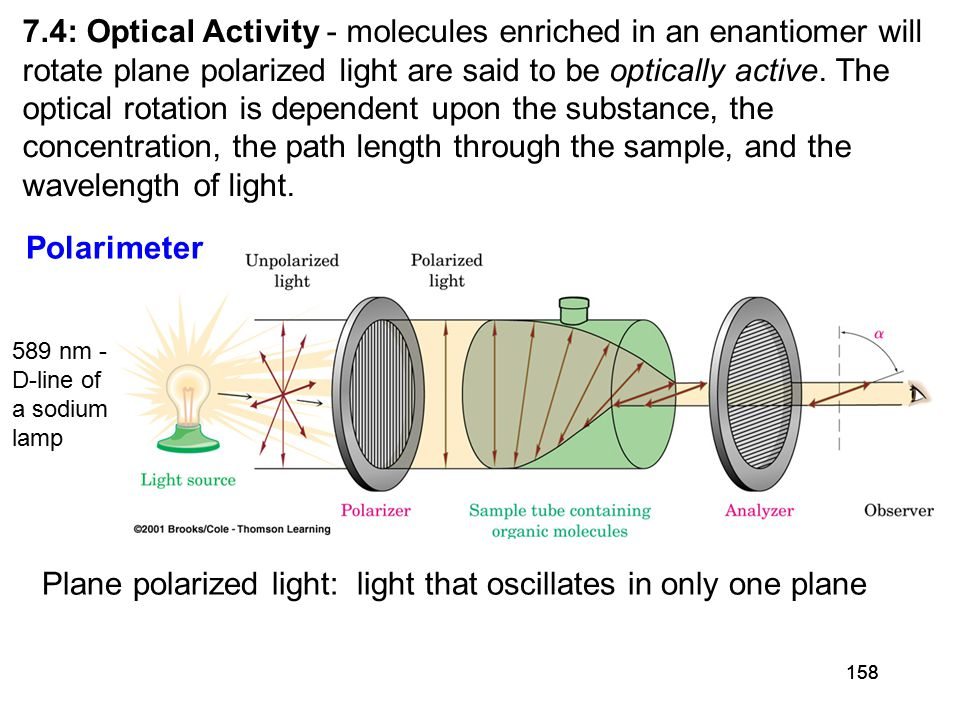 158 7.4: Optical Activity - molecules enriched in an enantiomer will rotate plane polarized light are said to be optically active.