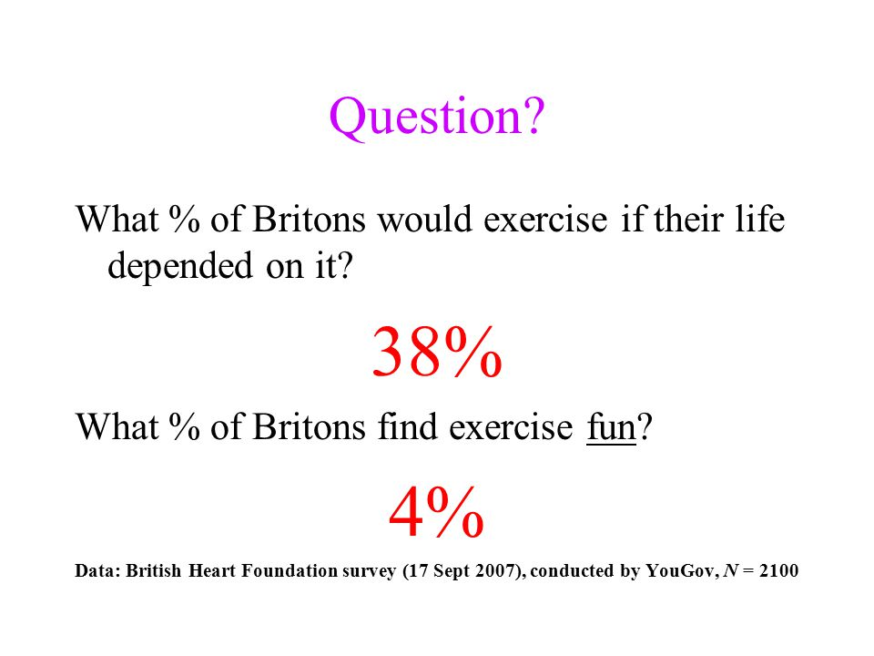 Question? What % of Britons would exercise if their life depended on it? 38% What % of Britons find exercise fun? 4% Data: British Heart Foundation su