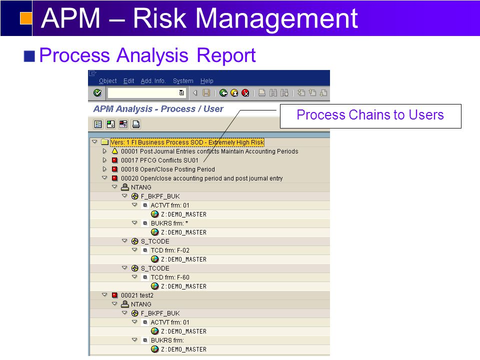 APM – Risk Management Process Analysis Report Process Chains to Users