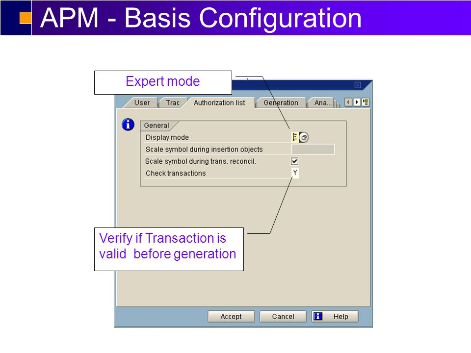APM - Basis Configuration Expert mode Verify if Transaction is valid before generation