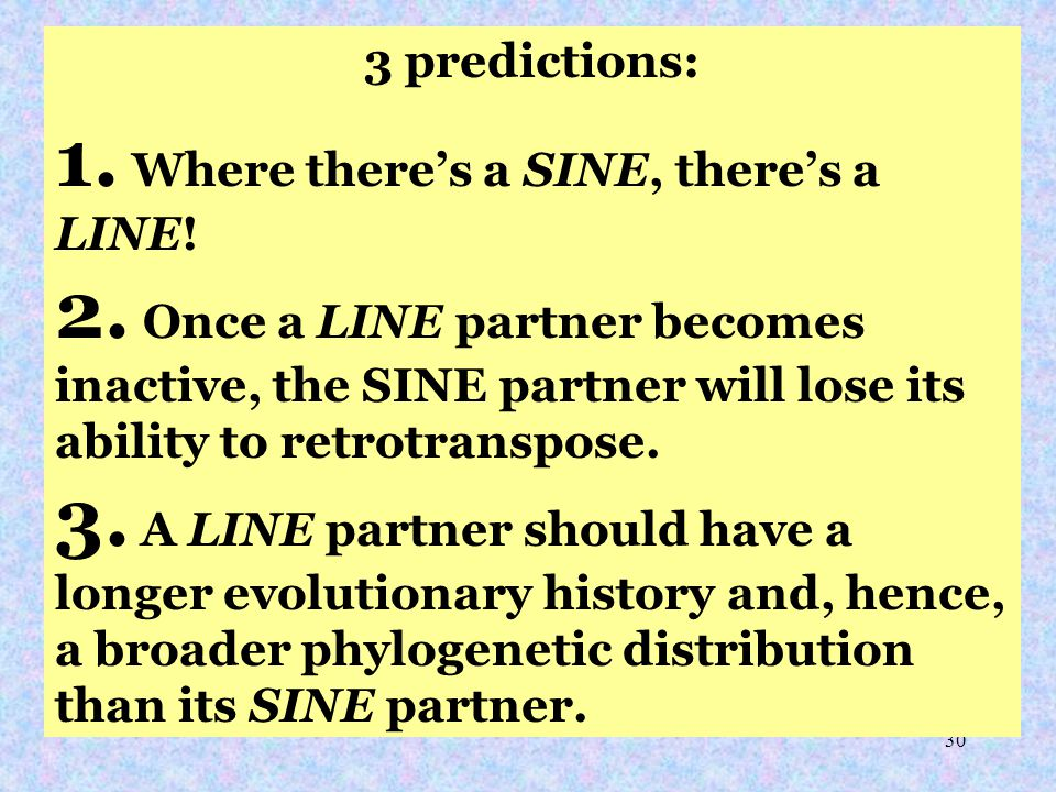 30 3 predictions: 1. Where there's a SINE, there's a LINE.