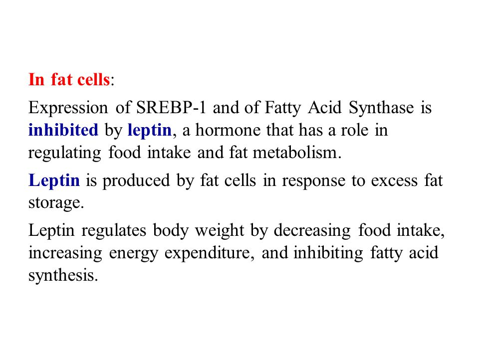 In fat cells: Expression of SREBP-1 and of Fatty Acid Synthase is inhibited by leptin, a hormone that has a role in regulating food intake and fat met