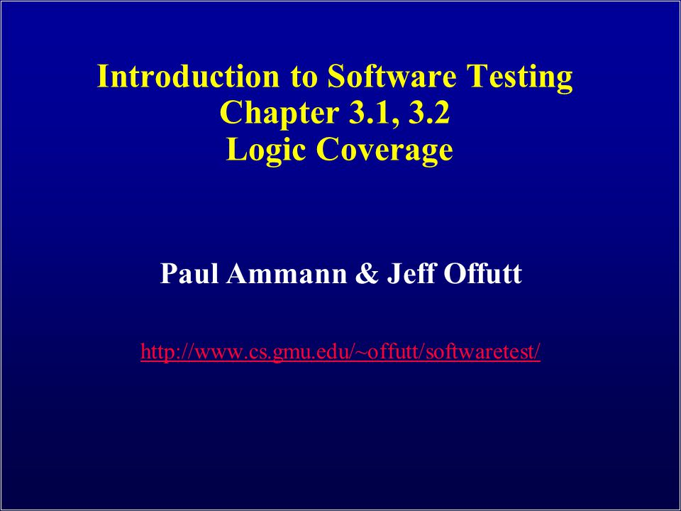 Introduction to Software Testing (Ch 3) © Ammann & Offutt 12 Combinatorial Coverage CoC requires every possible combination Sometimes called Multiple Condition Coverage Combinatorial Coverage (CoC) : For each p in P, TR has test requirements for the clauses in Cp to evaluate to each possible combination of truth values.