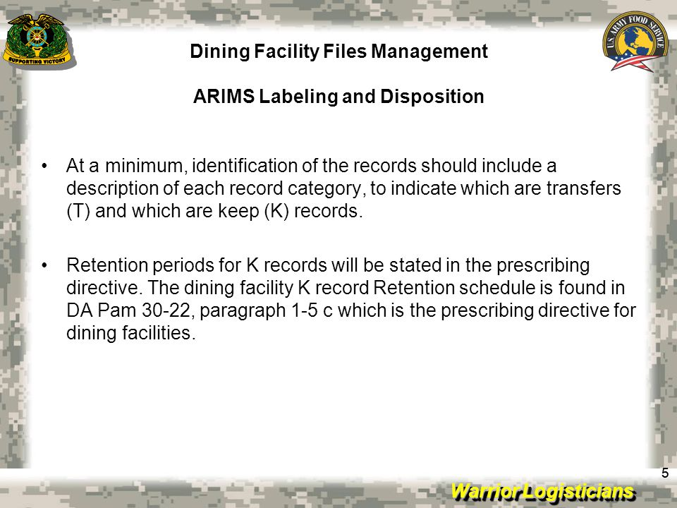 Warrior Logisticians Dining Facility Files Management ARIMS Labeling 66 Under the MARKS System of filing, records were large and cumbersome.