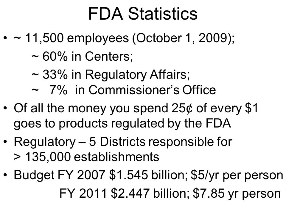FDA Statistics ~ 11,500 employees (October 1, 2009); ~ 60% in Centers; ~ 33% in Regulatory Affairs; ~ 7% in Commissioner's Office Of all the money you spend 25¢ of every $1 goes to products regulated by the FDA Regulatory – 5 Districts responsible for > 135,000 establishments Budget FY 2007 $1.545 billion; $5/yr per person FY 2011 $2.447 billion; $7.85 yr person