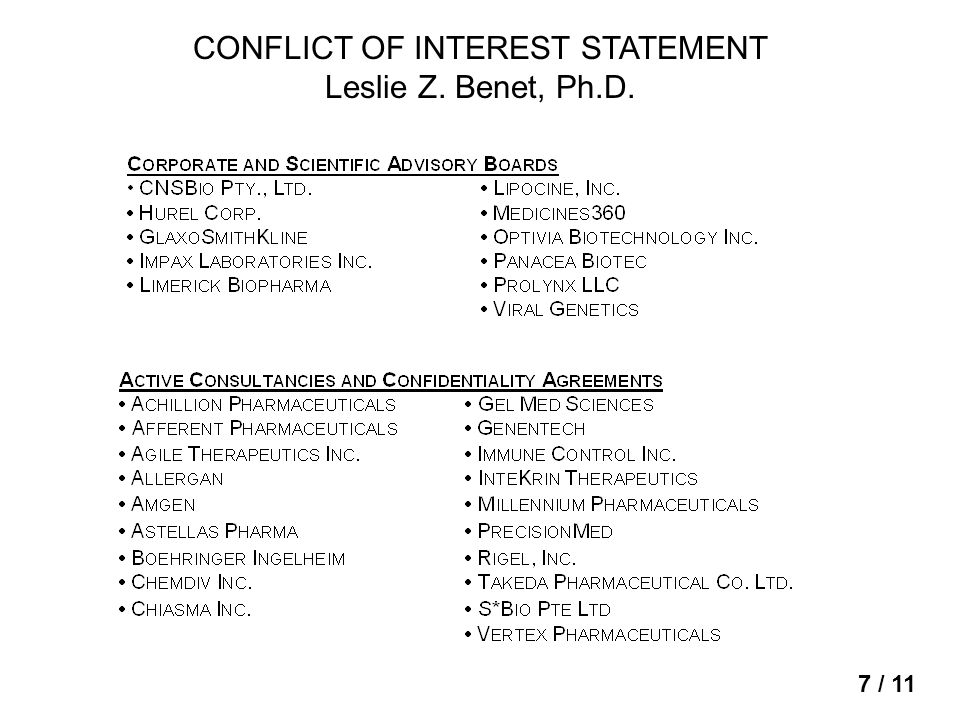 CONFLICT OF INTEREST STATEMENT Leslie Z. Benet, Ph.D. 7 / 11