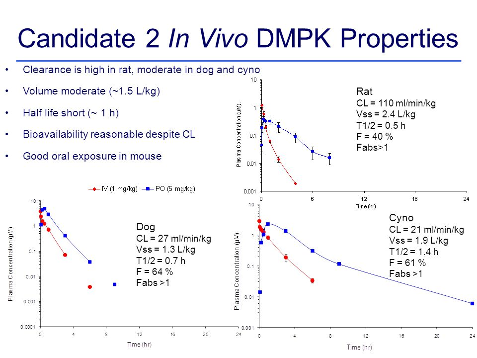 Candidate 2 In Vivo DMPK Properties Clearance is high in rat, moderate in dog and cyno Volume moderate (~1.5 L/kg) Half life short (~ 1 h) Bioavailability reasonable despite CL Good oral exposure in mouse Dog CL = 27 ml/min/kg Vss = 1.3 L/kg T1/2 = 0.7 h F = 64 % Fabs >1 Rat CL = 110 ml/min/kg Vss = 2.4 L/kg T1/2 = 0.5 h F = 40 % Fabs>1 Cyno CL = 21 ml/min/kg Vss = 1.9 L/kg T1/2 = 1.4 h F = 61 % Fabs >1