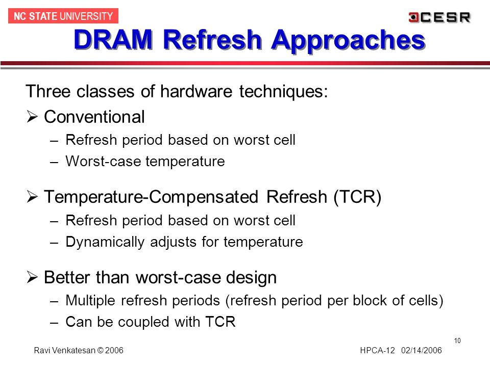 NC STATE UNIVERSITY Ravi Venkatesan © 2006 HPCA-12 02/14/2006 10 DRAM Refresh Approaches Three classes of hardware techniques:  Conventional –Refresh
