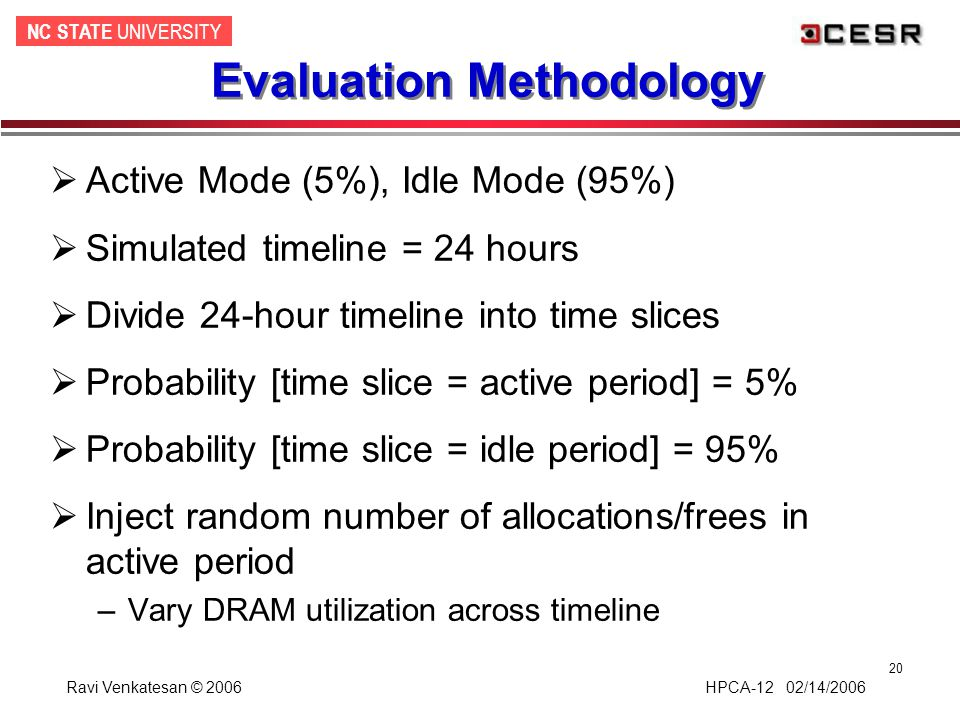 NC STATE UNIVERSITY Ravi Venkatesan © 2006 HPCA-12 02/14/2006 20 Evaluation Methodology  Active Mode (5%), Idle Mode (95%)  Simulated timeline = 24 hours  Divide 24-hour timeline into time slices  Probability [time slice = active period] = 5%  Probability [time slice = idle period] = 95%  Inject random number of allocations/frees in active period –Vary DRAM utilization across timeline