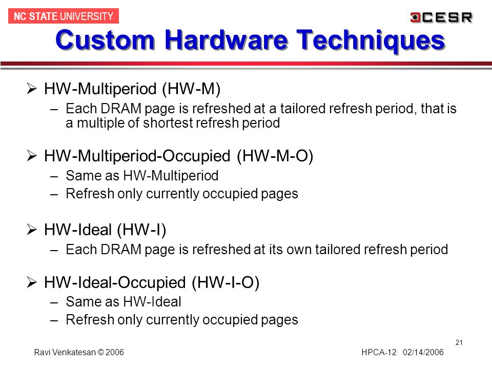NC STATE UNIVERSITY Ravi Venkatesan © 2006 HPCA-12 02/14/2006 21 Custom Hardware Techniques  HW-Multiperiod (HW-M) –Each DRAM page is refreshed at a