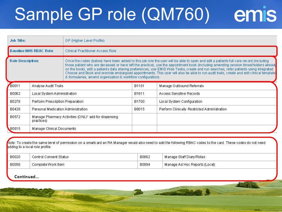 Prescribers  Prescribing types  B0420 Independent  B0440 Supplementary  B0058 Nurse Prescribers Formulary  Ensure code on role profile matches the prescribing type set in users EMIS Web Role settings.