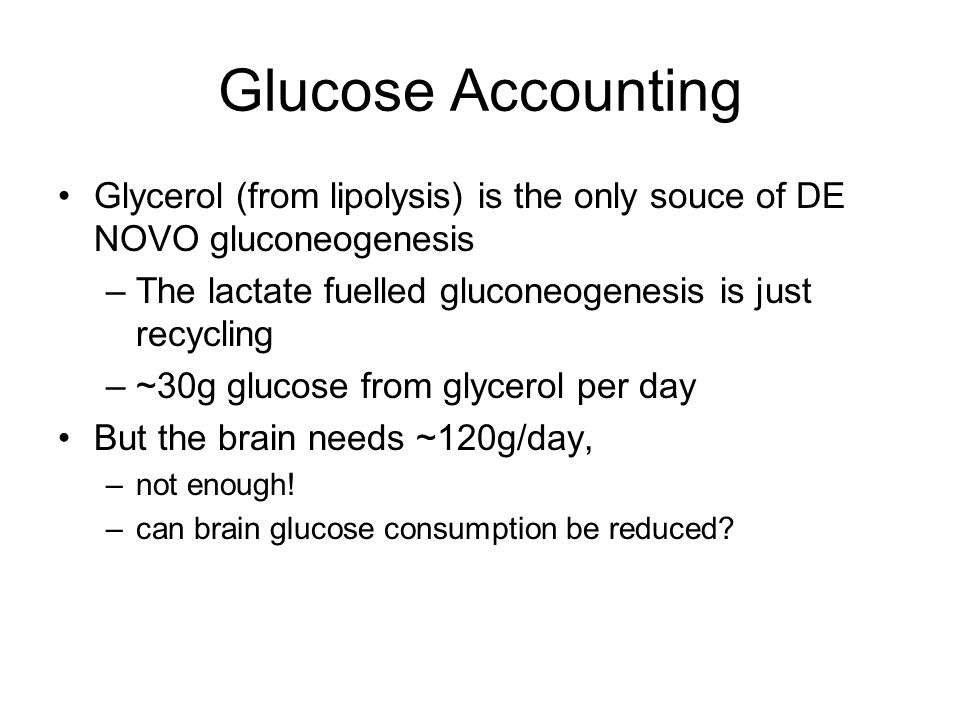 Glucose Accounting Glycerol (from lipolysis) is the only souce of DE NOVO gluconeogenesis –The lactate fuelled gluconeogenesis is just recycling –~30g