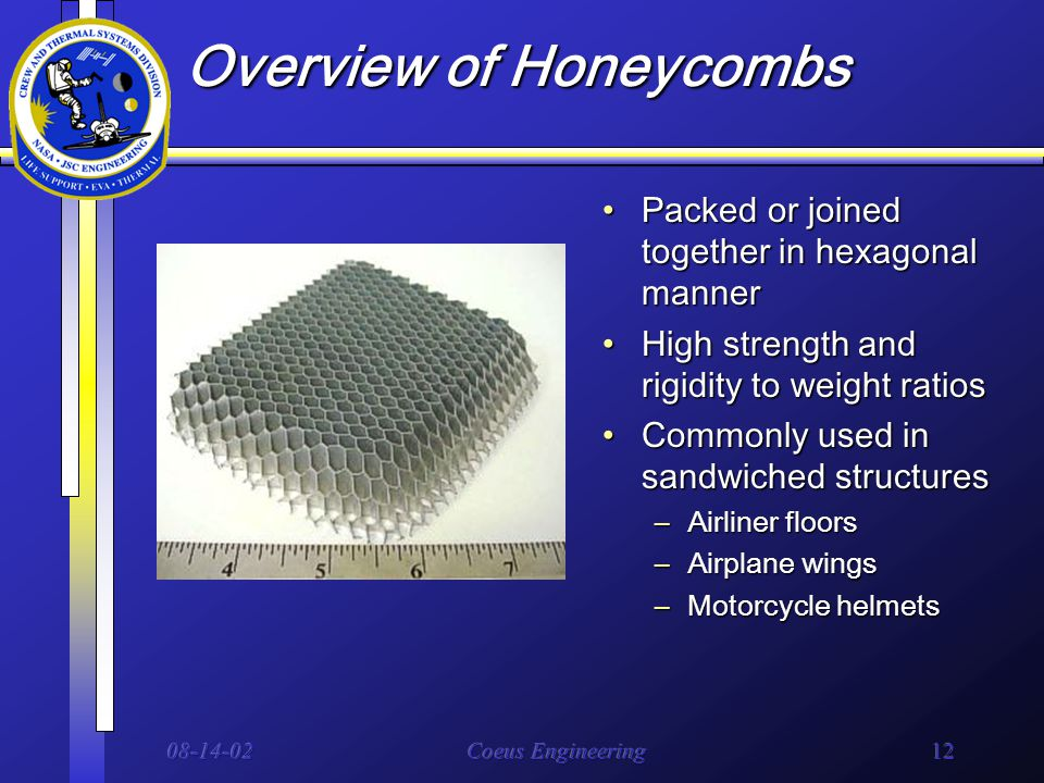 08-14-02Coeus Engineering12 Overview of Honeycombs